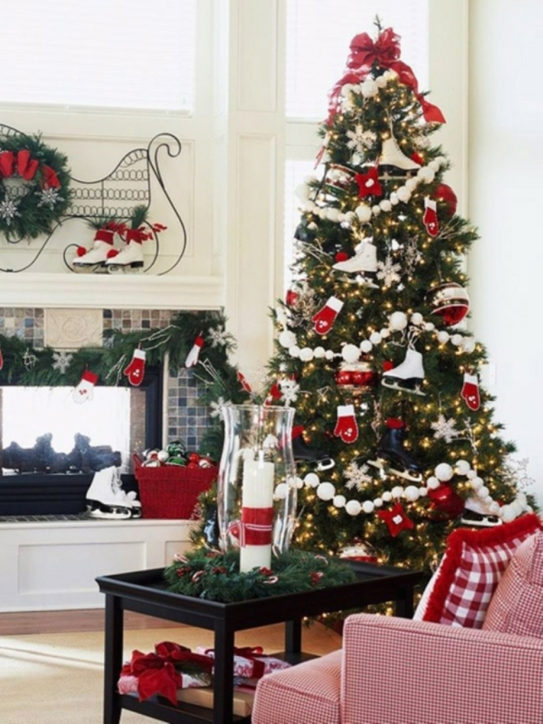 Christmas-tree-decorations-red-white-ornaments-ice-skates