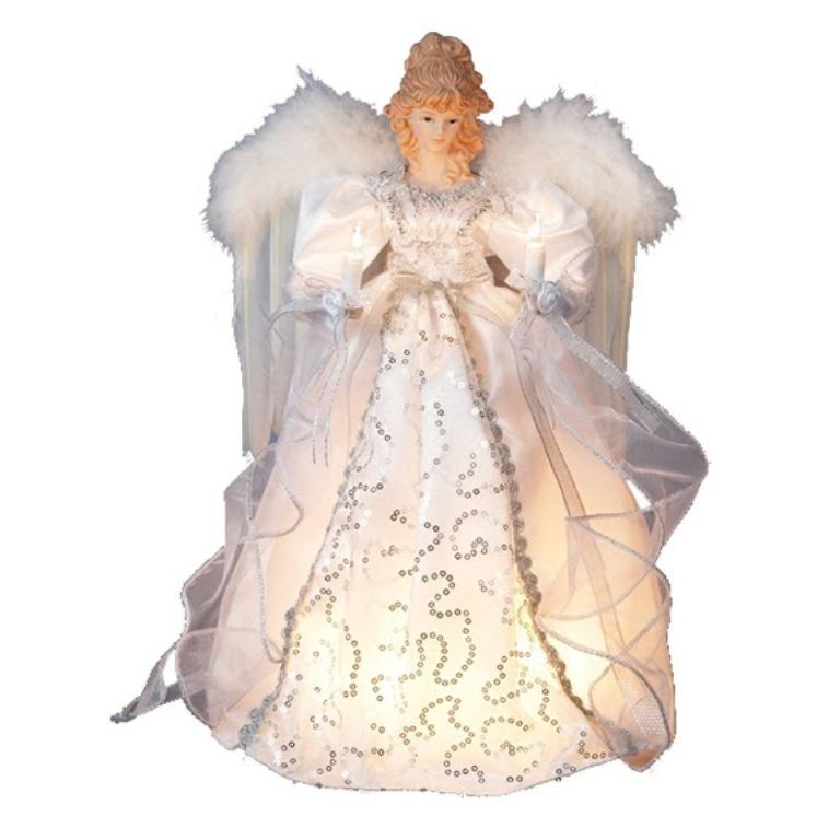 Kurt Adler 14-inch 10-Light White and Silver Angel Treetop
