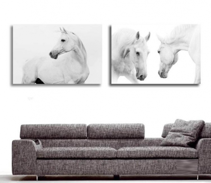 New-2-pieces-modern-canvas-white-horse-animal-oil-painting-prints-large-font-b-wall-b