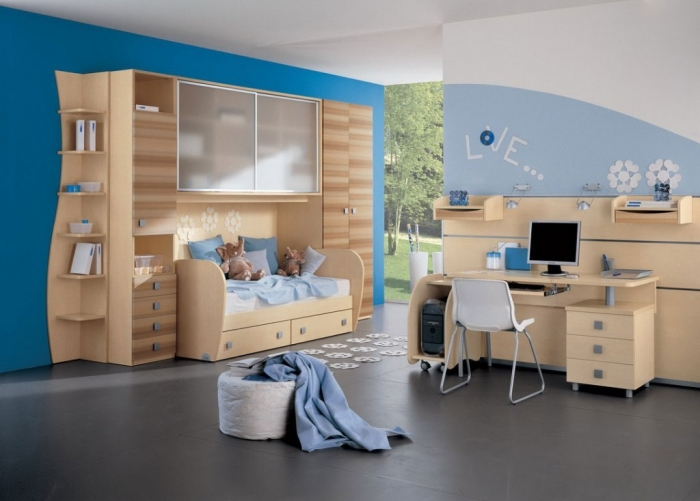 kids-bedroom-bedroom-sky-blue-and-light-blue-likeable-boys-bedroom-design-with-transparent-cabinet-door-and-functional-study-desk-