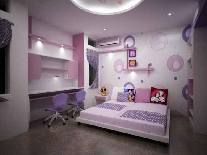 Cute Room Color Ideas with Purple Wallpaper and Chair also Pink Furniture Colorful children room inspiration 2015