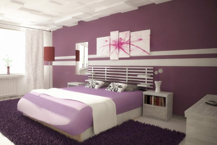 Girls-Bedroom-Decorating-Ideas-Purple-Decoration-With-White-Long-Curtains-With-Painting-And-Curtains-Purple-Bedroom-Decorating-Ideas