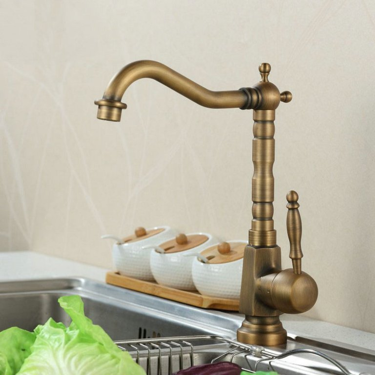 Kitchen-Faucet-font-b-Antique-b-font-font-b-Brass-b-font-Swivel-Bathroom-Basin-Sink