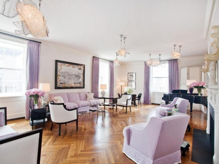 Park Avenue Apartment lavendar living room cococozy sothebys international real estate house for sale listing herringbone wood floors crystal fish light fixtures