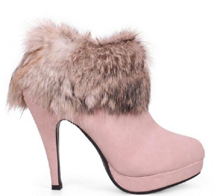 Pink-High-Heel-Winter-Boots