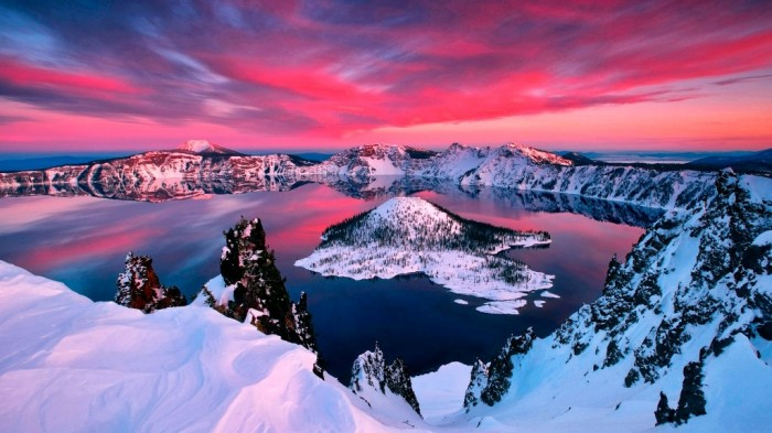 United States nature-landscapes_hdwallpaper_winter-sunset-in-crater-lake-oregon_1714