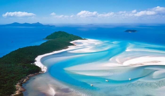 Whitehaven Beach at Whitsunday Island,  Australia