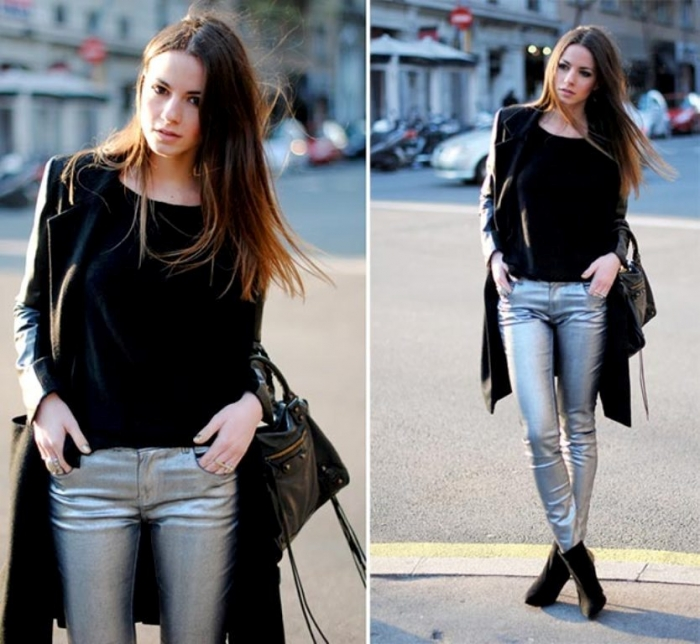 fall-pants-trends-for-women-silver-pants