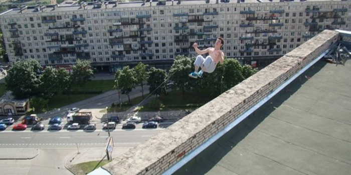 Pavel Kashin just seconds before a 16-story drop