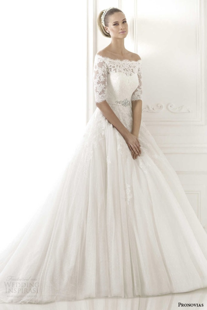 pronovias-2015-best-wedding-dress-elbow-length-off-shoulder-sleeves