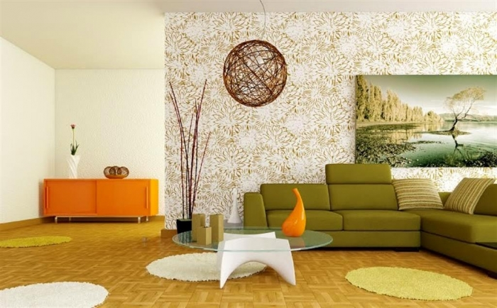 retro-living-room-with-orange-sideboard-and-green-head-rest-sofa-sets