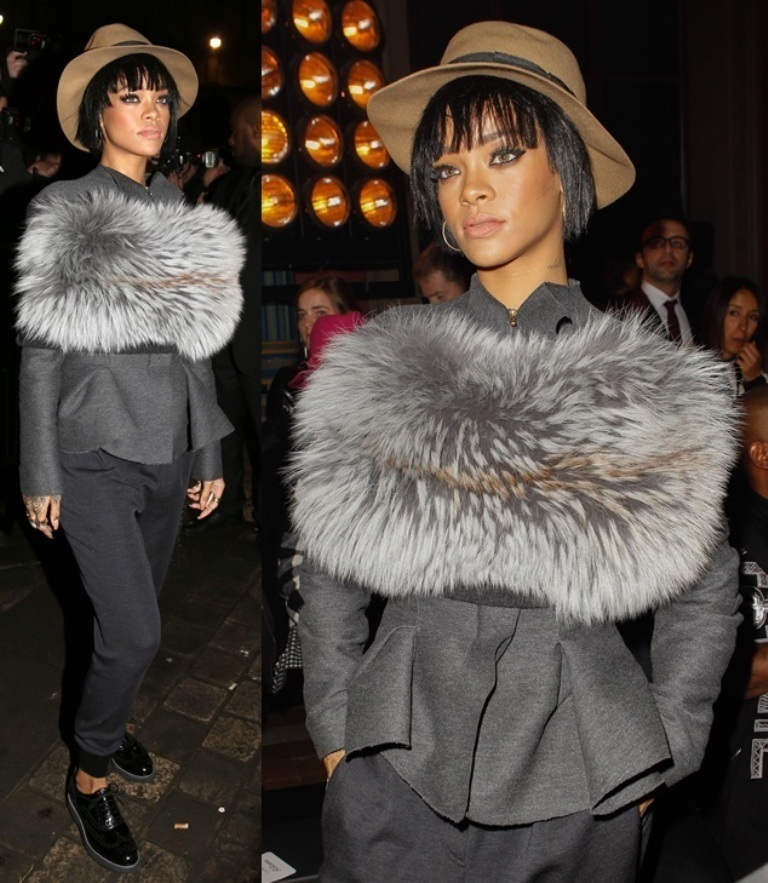 rihanna-lanvin-shoe-fashion-week-paris-fur-wrap-collar-cape-stole
