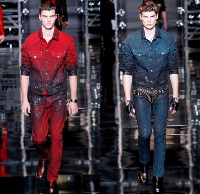versace-2014-2015-fall-autumn-winter-milan-fashion-mens-runway-moda-italy-denim-jeans-vintage-patchwork-destroyed-paint-splatters-coat-cowboy-western-biker-03x