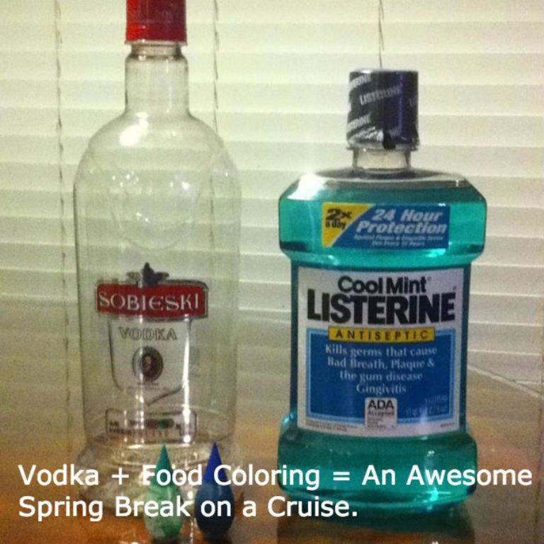 Do you want to sneak alcohol and drink it into residence? Add some food coloring to vodka and place them into a bottle of Listerine
