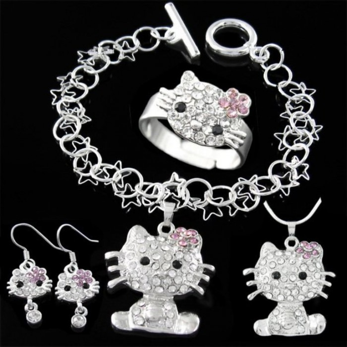6sets-lot-Hello-kitty-Necklace-Bracelet-Earrings-Ring-set-fashion-fine-jewelry-pendant-wholesale-T211