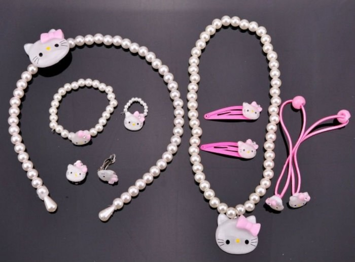 Cheap-Jewelry-Bauble-Hello-Kitty-Necklace-Bracelet-Ring-Earrings-Hair-Accessories-7PC-Kid-Jewelry-Set-2