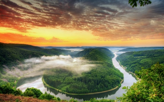 Germany water sunset clouds nature trees germany rivers saarschleife saarland evening