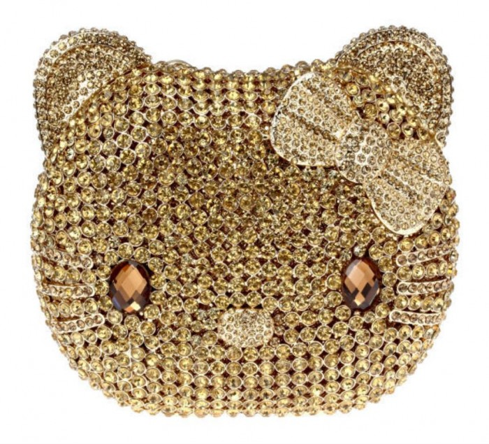 Golden-Cartoon-Cat-Full-Crystals-Ladies-Evening-font-b-Clutches-b-font-Top-Grade-Light-Topaz