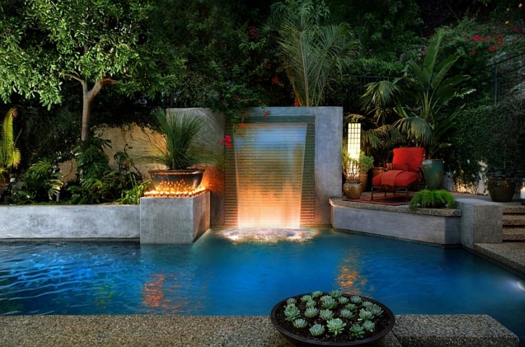 Modern-cascade-garden-pool-for-the-cool-contemporary-home