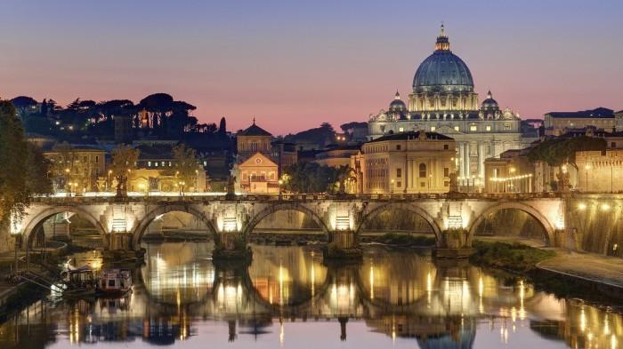 Night-Light-Bridge-St.-Peters-Basilica-Vatican-City-wallpaper