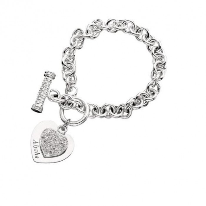 Personalized-Double-Heart-Tag-and-CZ-Silver-Bracelet