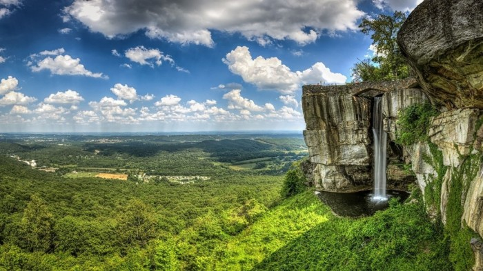 United States clouds-rock-city-waterfall-georgia-usa-tennessee-lookout-mountain-nature