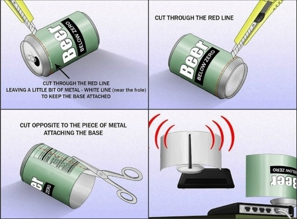 Use a beer can to strengthen Wi-Fi signal from your router and make it better