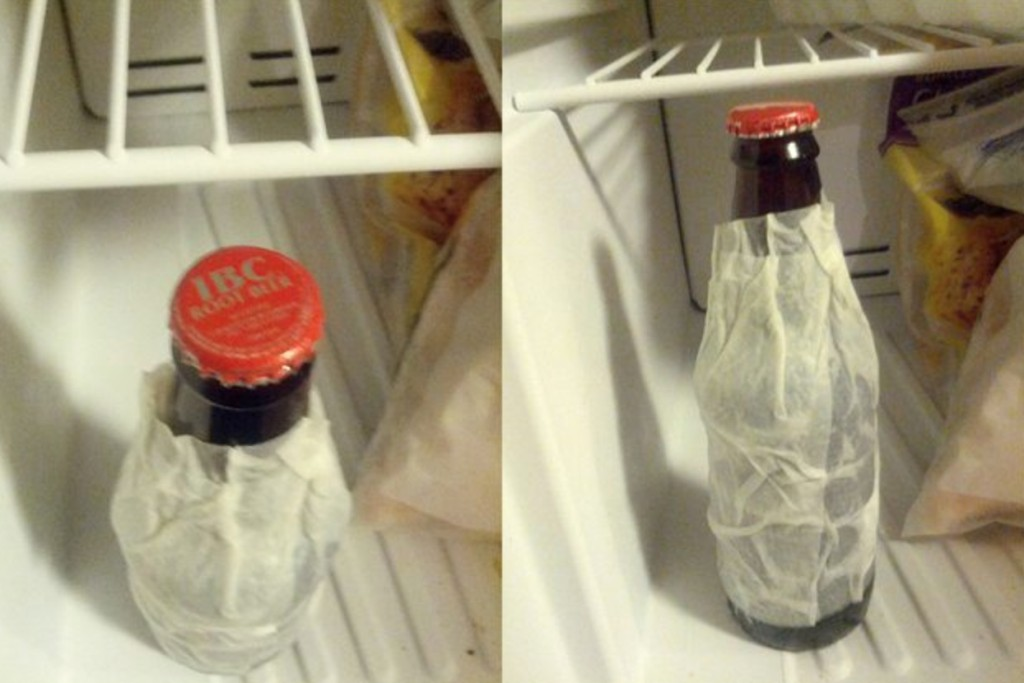 Do you want to get a cold beer in just 2 minutes? It is possible as all what you need is to bring a wet paper towel, wrap it around the bottle and put it into the freezer for 2 minutes to get your cold beer