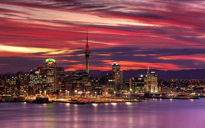 Auckland-Harbour-sunset,-New-Zealand
