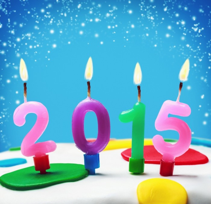 Feliz Año Nuevo 2015 velitas de colores
