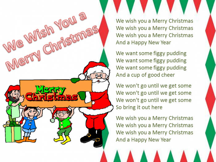 It's just a picture of Sassy Words to We Wish You a Merry Christmas Printable