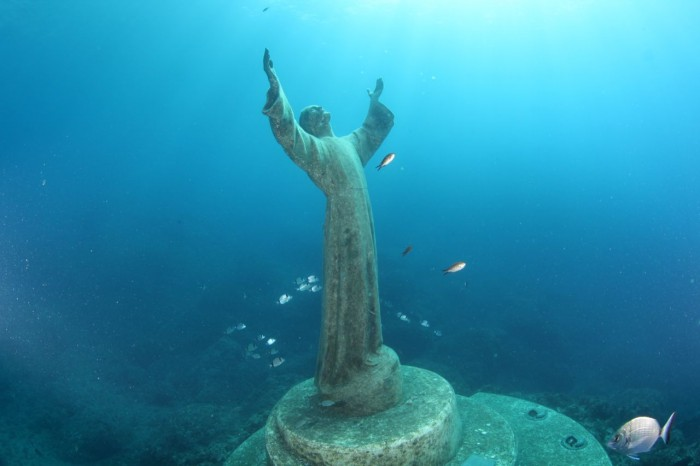 Christ of the Abyss at San Fruttuoso, Italy near Portofino