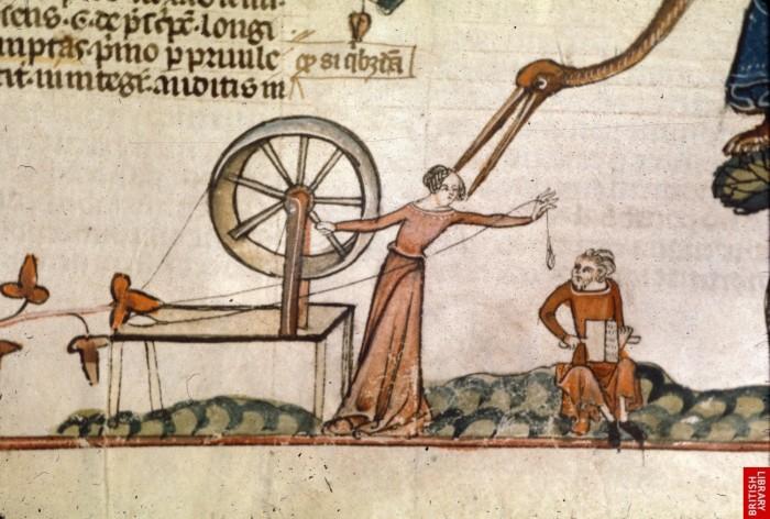 woman-at-spinning-wheel-with-man-carding-smithfield-decretals-british-library-royal-10-e-iv-fol-147v-c-1340