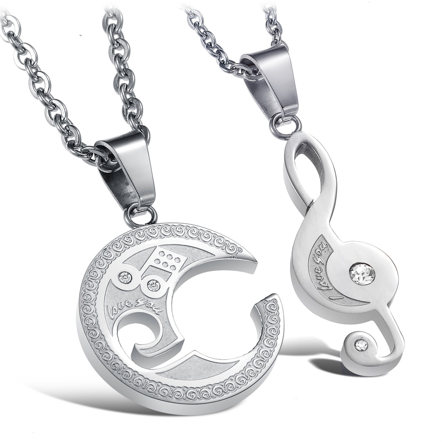 Music-Notes-Symbol-Titanium-Steel-CZ-Couples-Pendants-Necklaces-Matching-Set_8940_1
