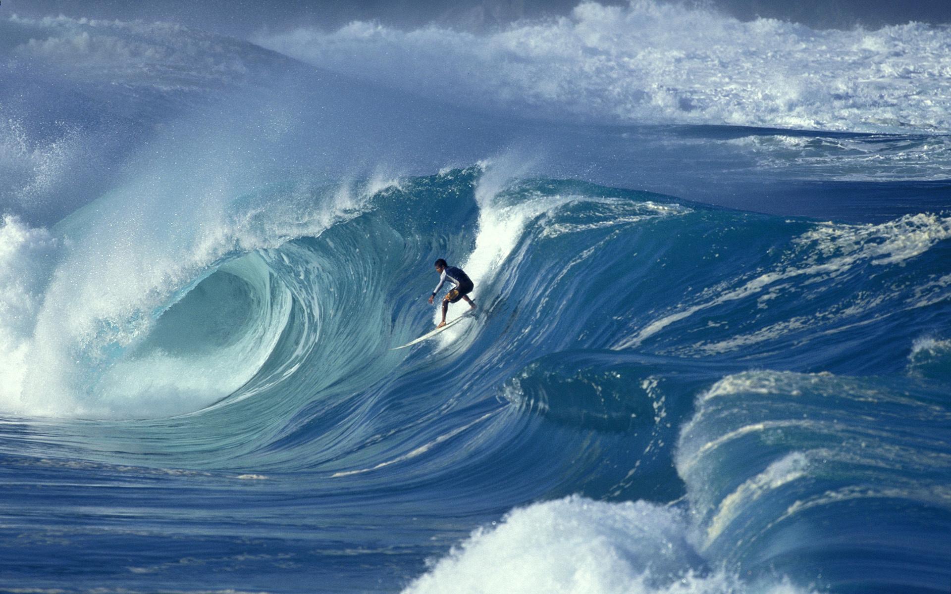 Professional surfer Marco Polo at Waimea, Oahu, Hawaii