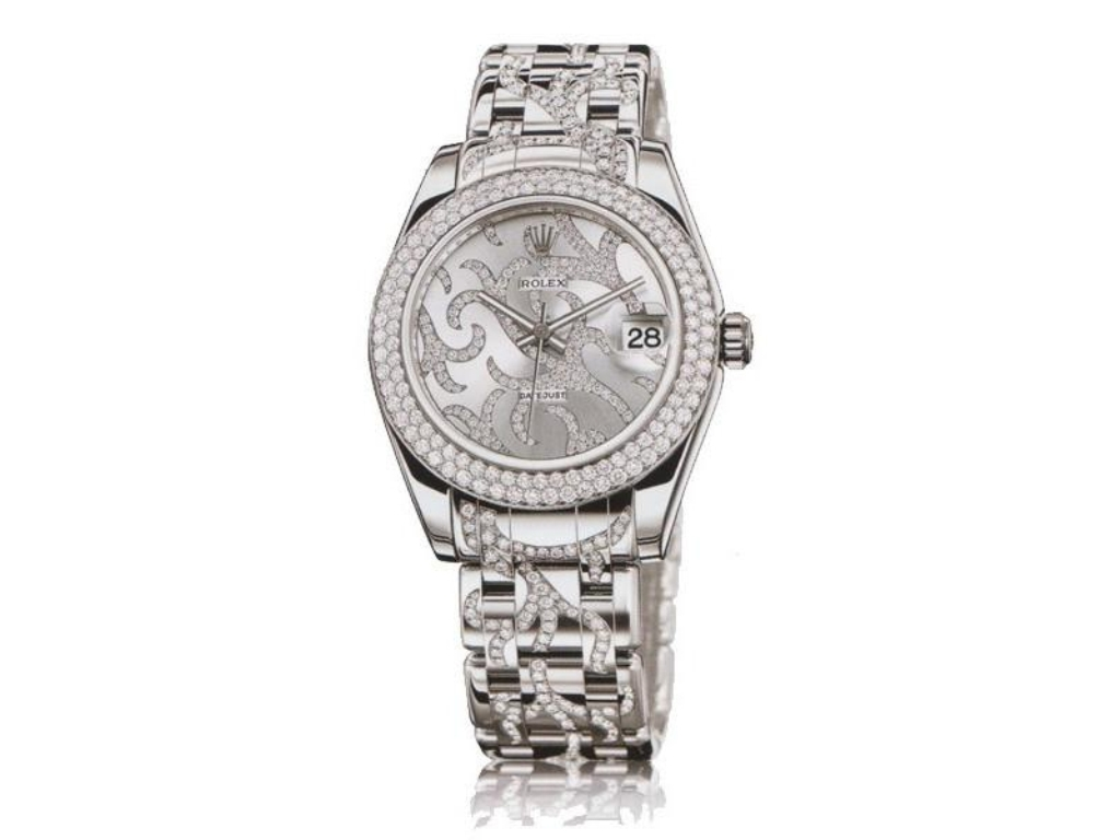 ROLEX WATCHES - DATEJUST 34MM SPECIAL EDITION WHITE GOLD MASTERPIECE 116 DIA BEZEL - 81339 ARABESQUE - $65,146.95