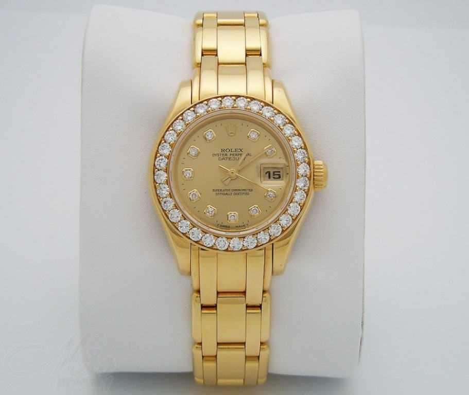 Rolex Oyster Perpetual Lady Datejust Pearlmaster Yellow Gold Watch – $64,500