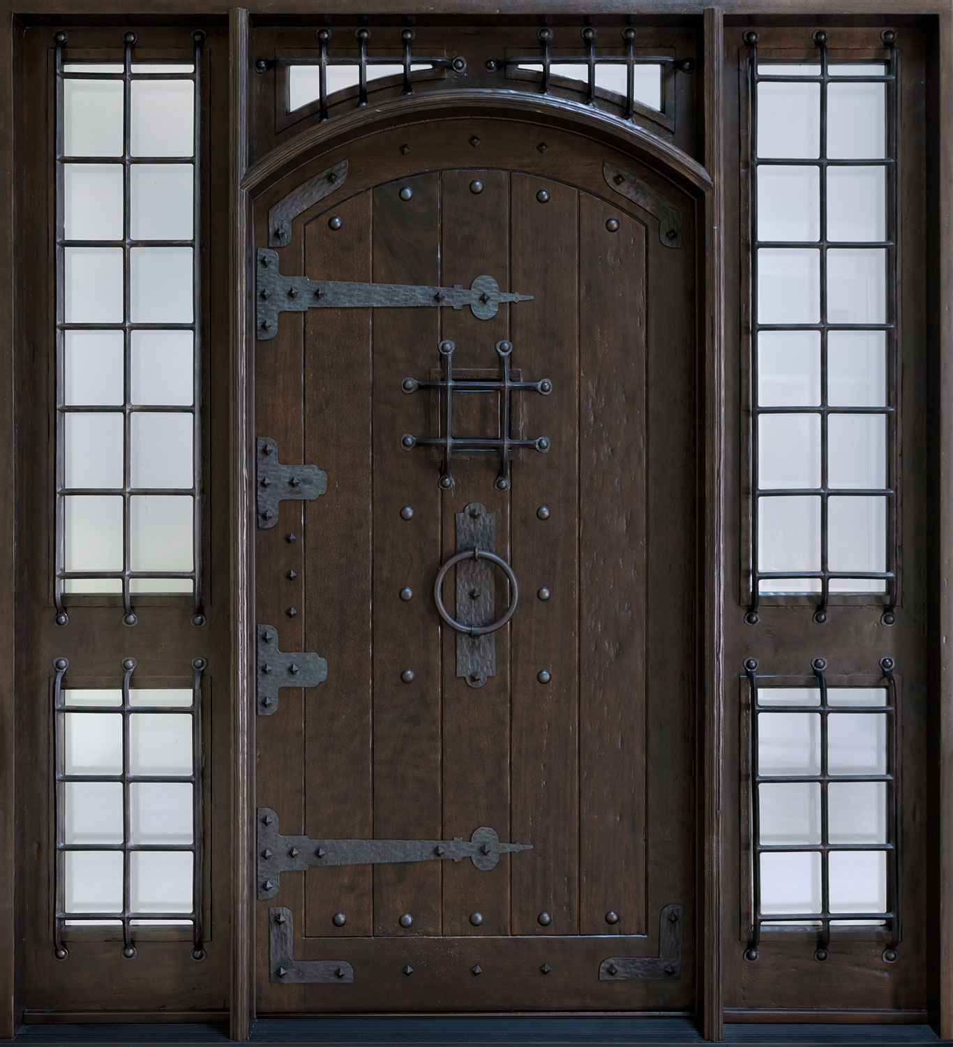 interior-gorgeous-steel-entry-doors-design-with-twin-bay-windows-and-dark-stell-door-in-the-center-likeable-steel-entry-doors-designs-will-make-your-home-safety