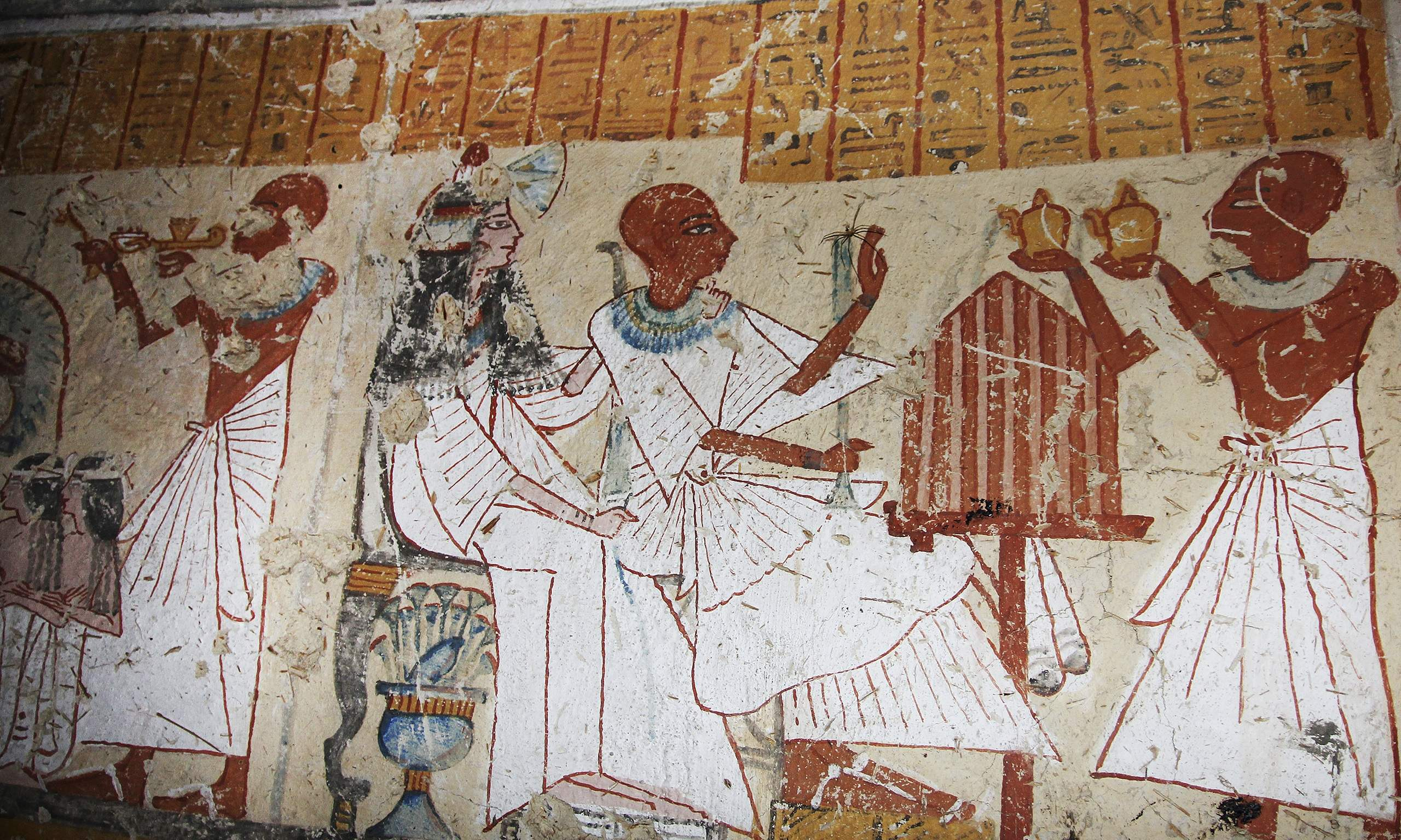 Scenes from ancient Egypt found on the walls of a newly discovered tomb in Luxor.