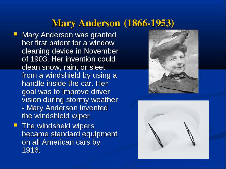 Mary Anderson Inventor >> Top 10 Inventions in Industry Made By Women