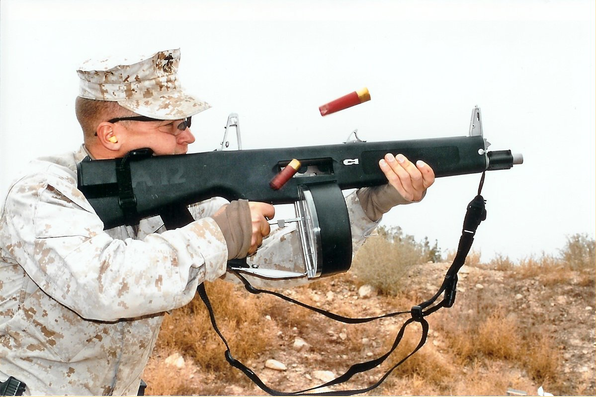 U.S. Marine Firing AA-12 Full-Auto Shotgun (AA12 Machine Shotgun)