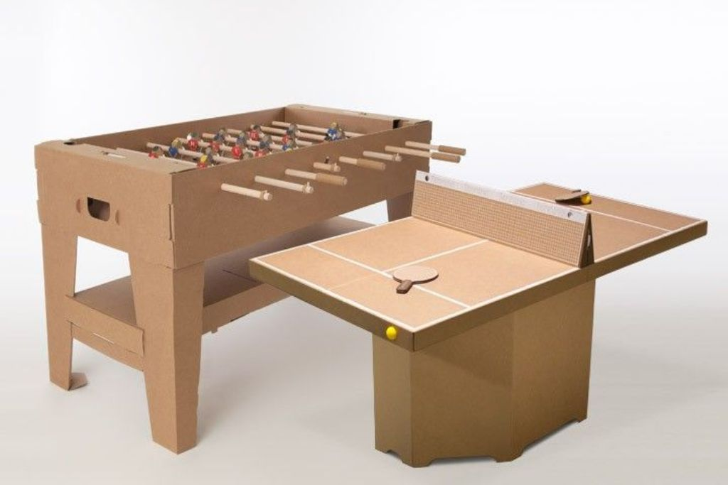 ping pong table in cardboard