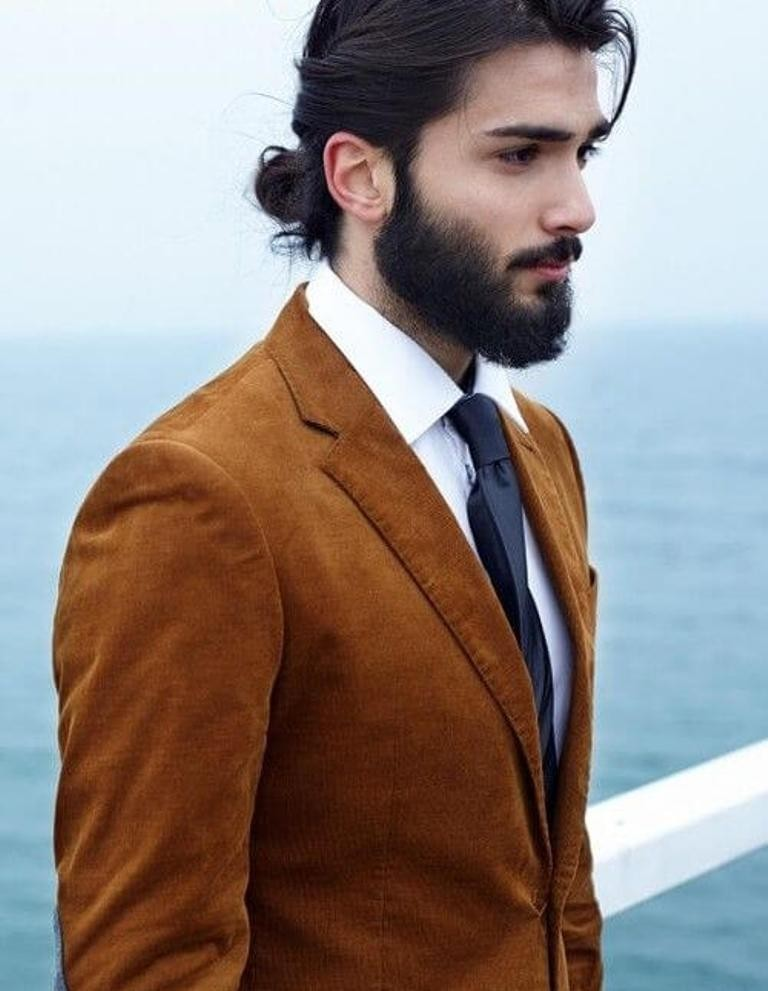 beard with man bun and top knot (1)