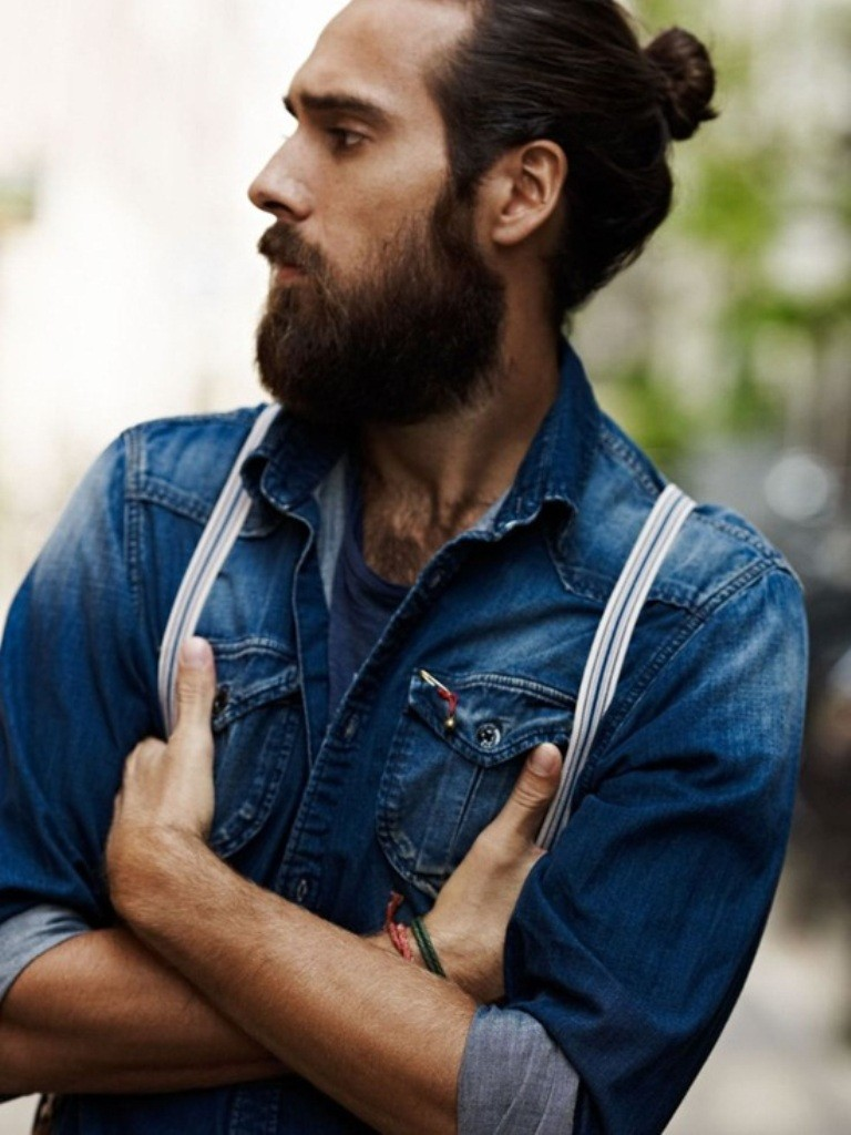 beard with man bun and top knot