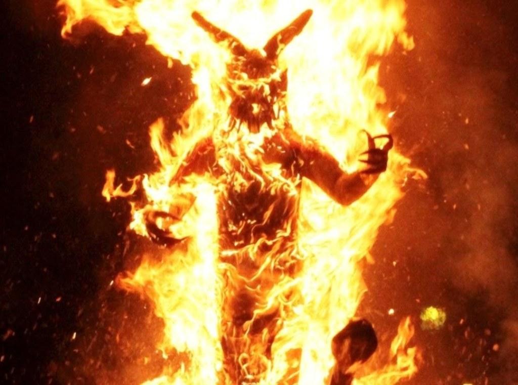 burning scarecrows