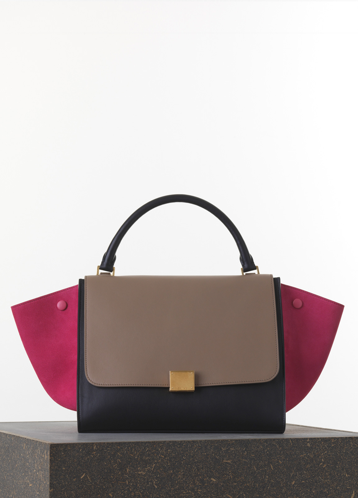 Celine-PinkTaupeBlack-Smooth-Calfskin-Trapeze-Medium-Bag