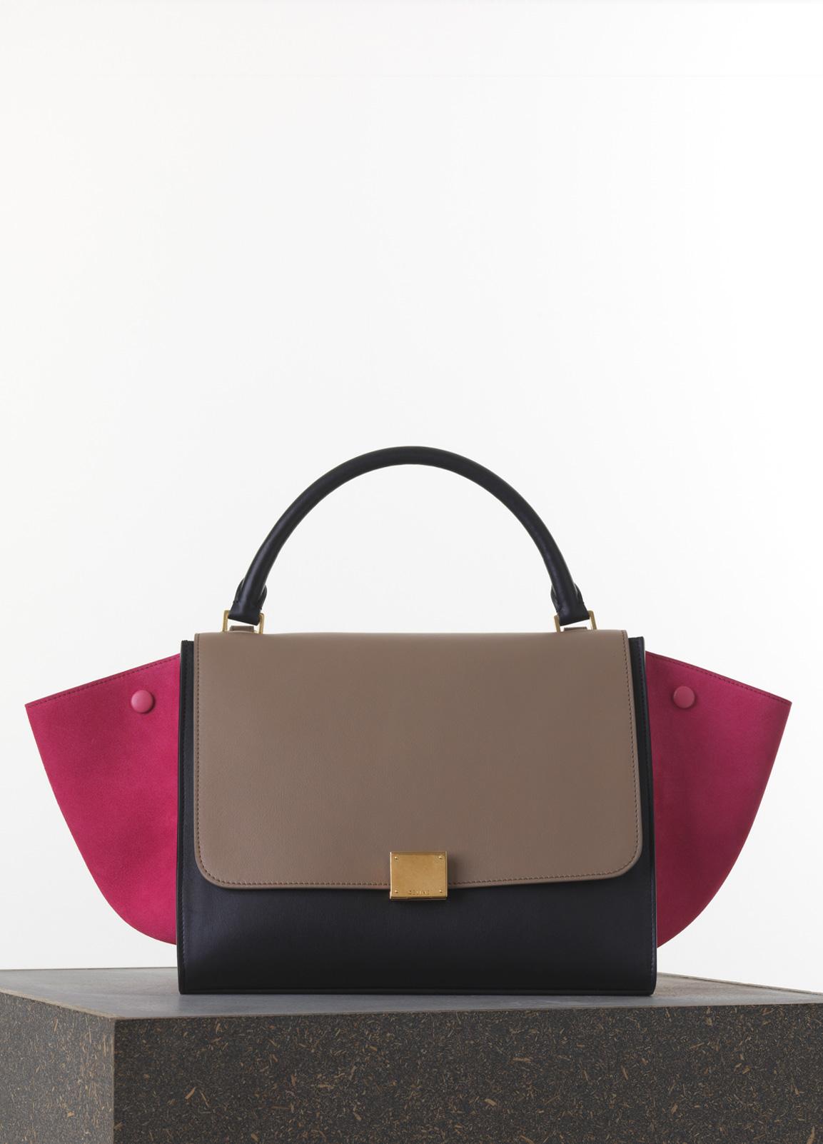 Celine-PinkTaupeBlack-Smooth-Calfskin-Trapeze-Medium-Bag
