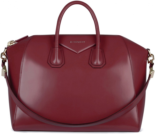 Givenchy Medium Antigona Bag In Burgundy Shiny Smooth