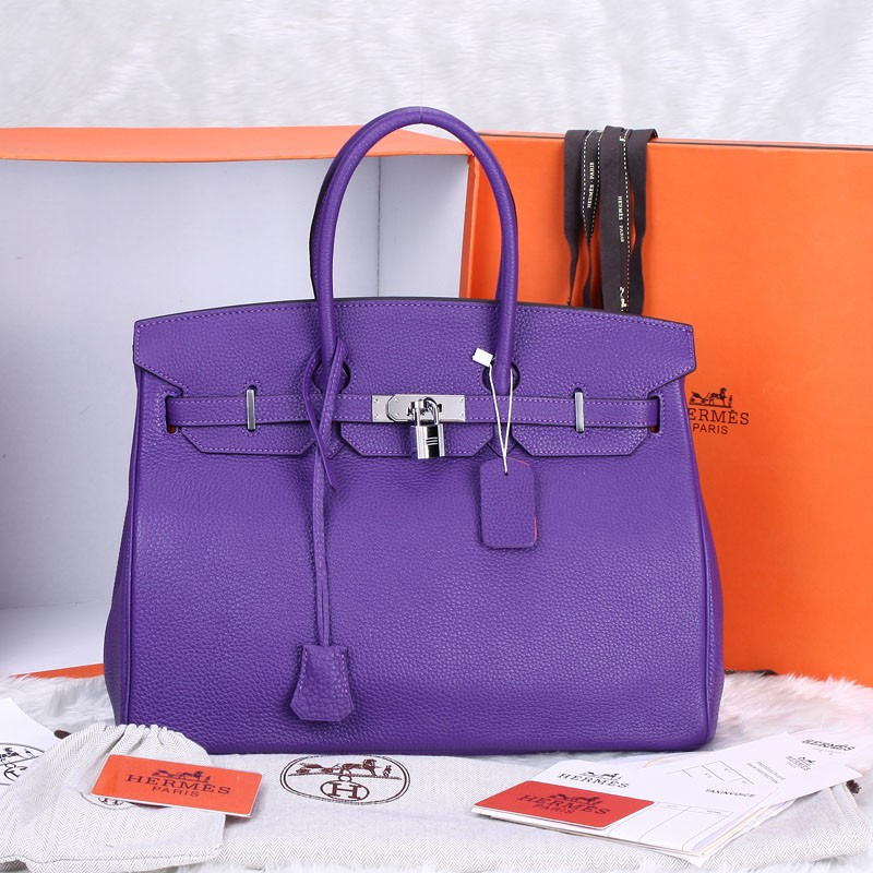 Hermes-Birkin-35CM-Original-Clemence-Leather-in-Purple-Silver-Hardware-7984