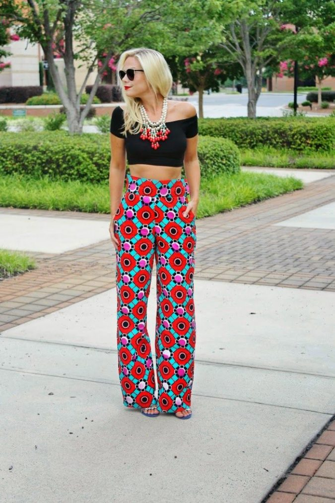 Wide leg printed trousers-2